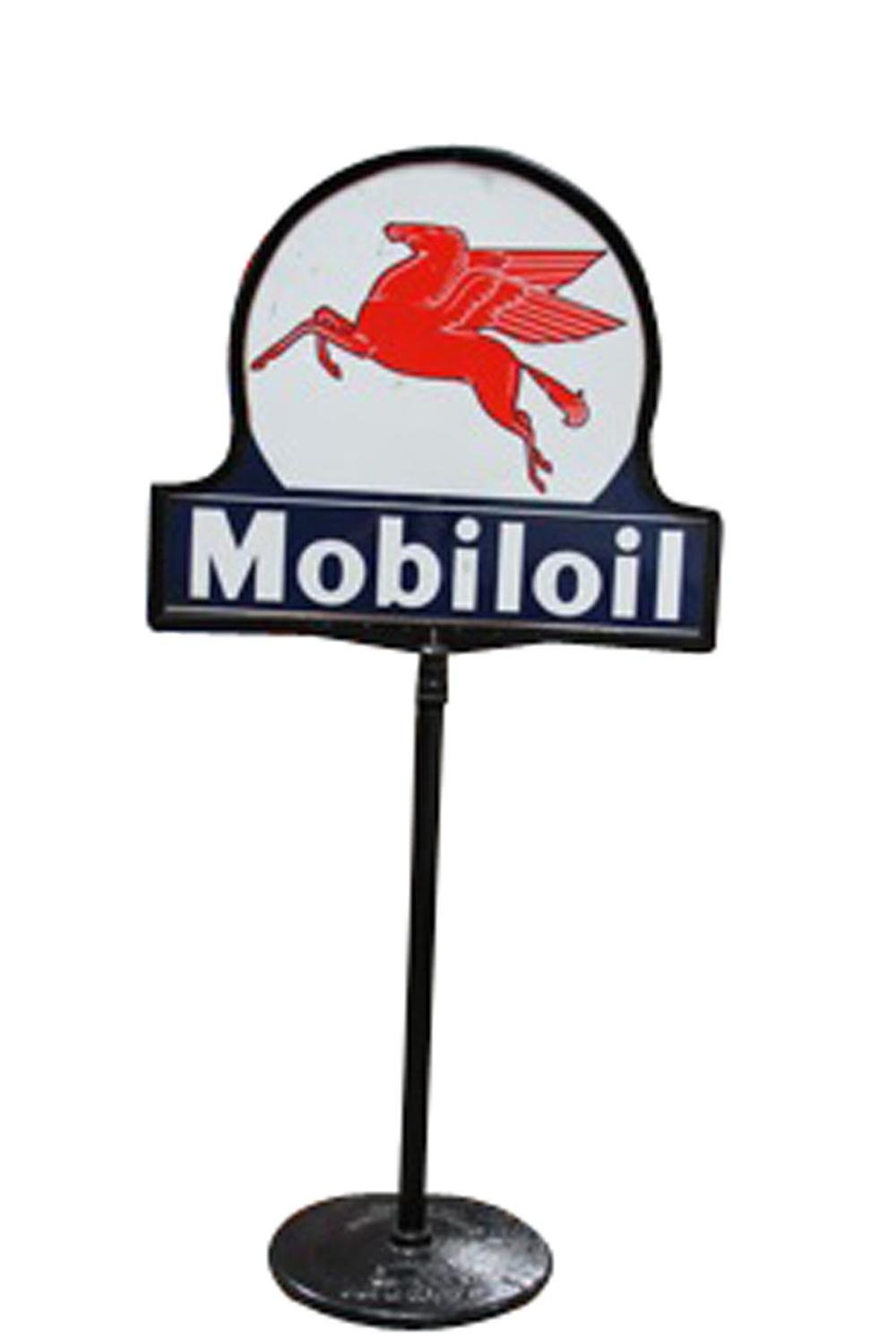 Wonderful 1930s Mobil Oil double-sided porcelain service station curb sign with magnificent Pegasus graphic. - Front 3/4 - 130820