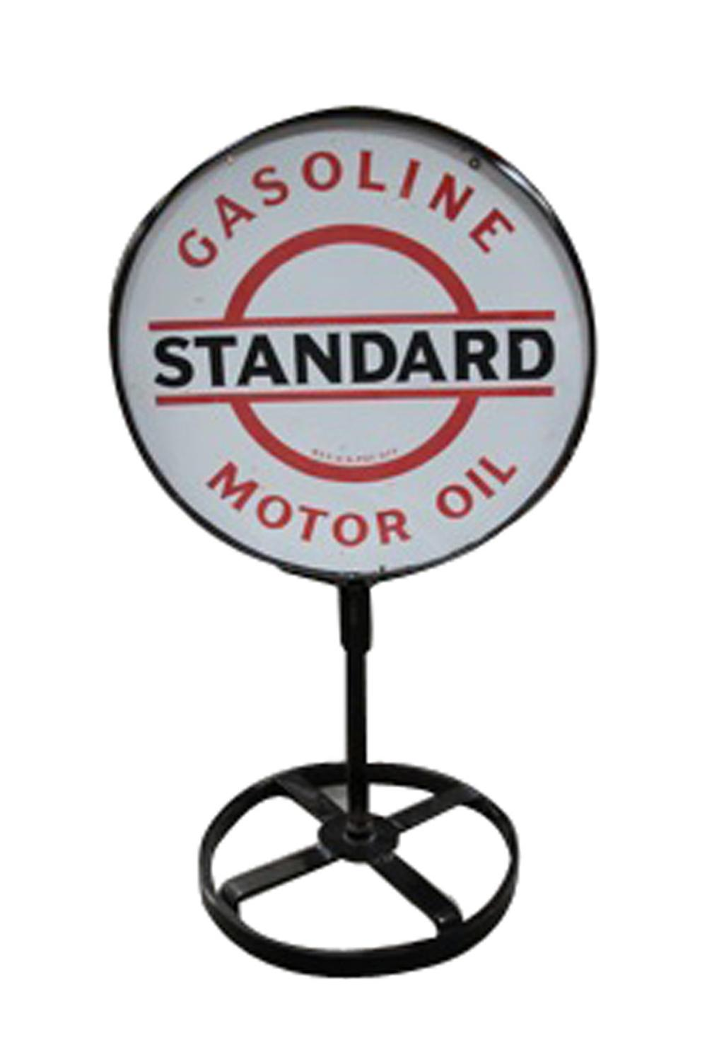 Impressive 1930s Standard Motor Oil -Gasoline double-sided porcelain curb sign. - Front 3/4 - 130823