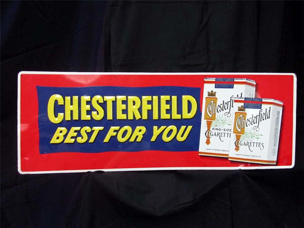 "N.O.S. 1950s Chesterfield Cigarettes ""Best for You"" embossed tin service station sign. - Front 3/4 - 130827"