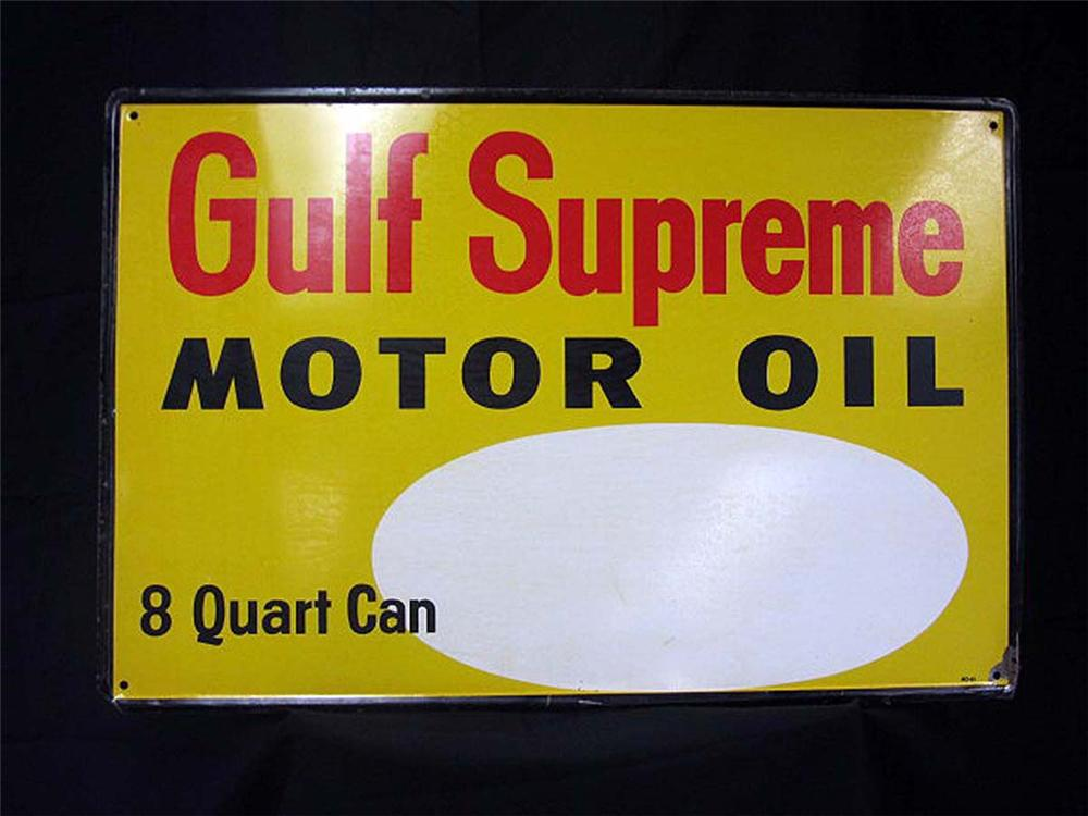 Unusual N.O.S. 1965 Gulf Supreme Motor Oil single-sided tin painted service station sign. - Front 3/4 - 130828