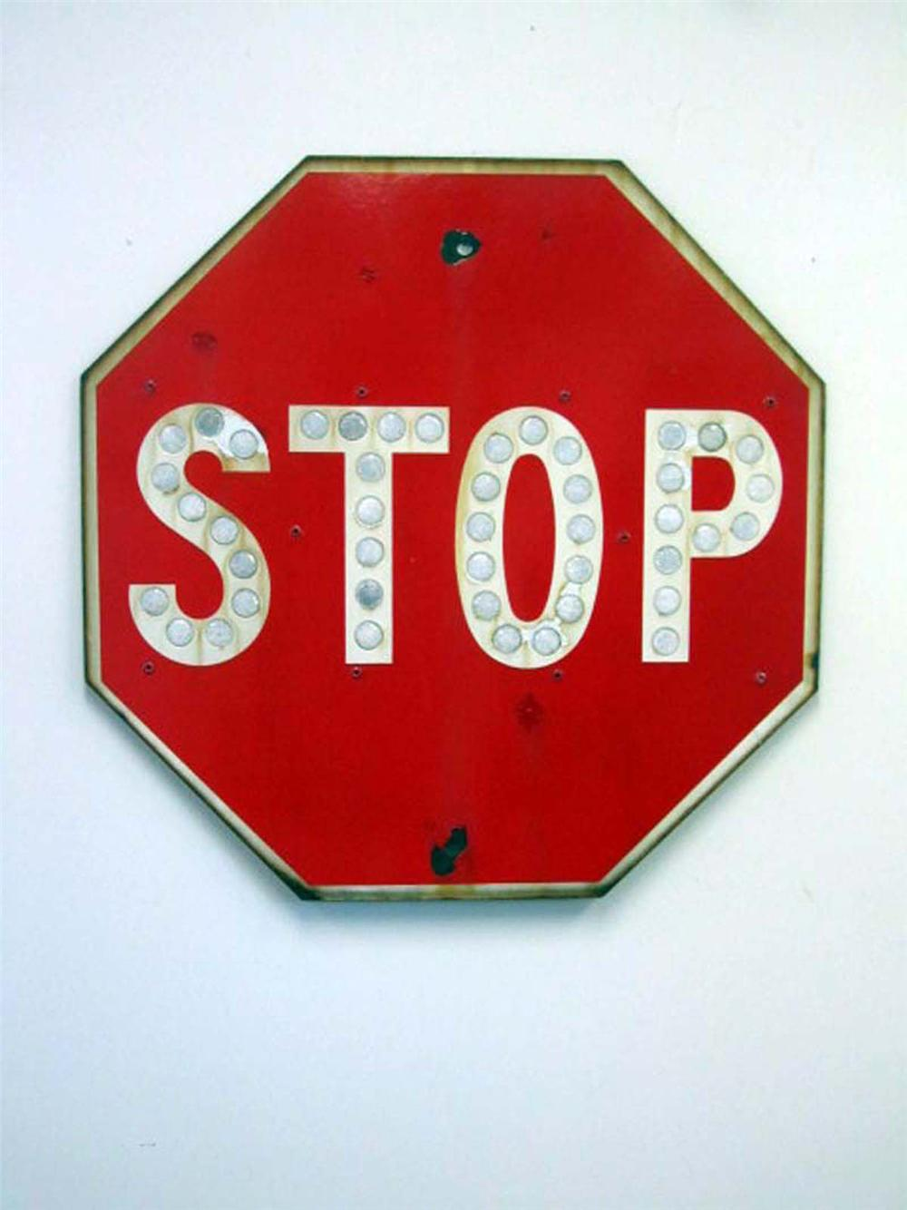 Early single-sided porcelain Stop sign with glass cat-eyes reflectors. - Front 3/4 - 130830