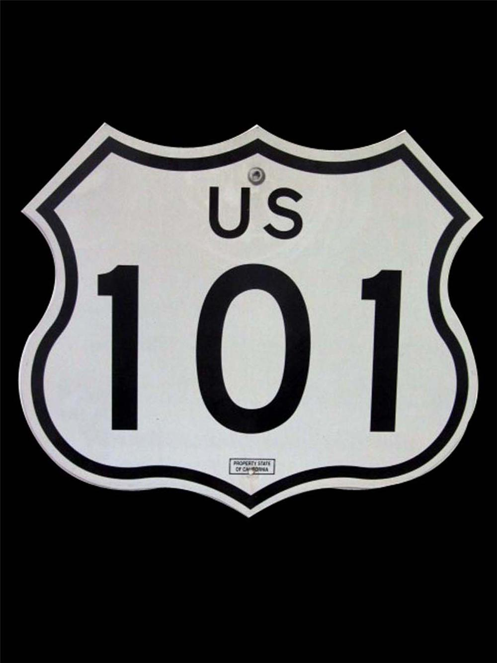 Very desirable U.S. Pacific Coast Highway 101 metal road sign. - Front 3/4 - 130835