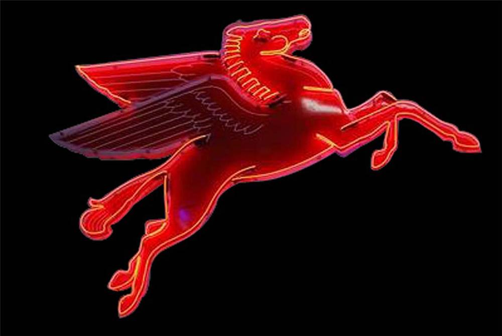 Killer 1950s Mobil Oil Pegasus porcelain neon sign with animated neon.  Lights and works great. - Front 3/4 - 130836