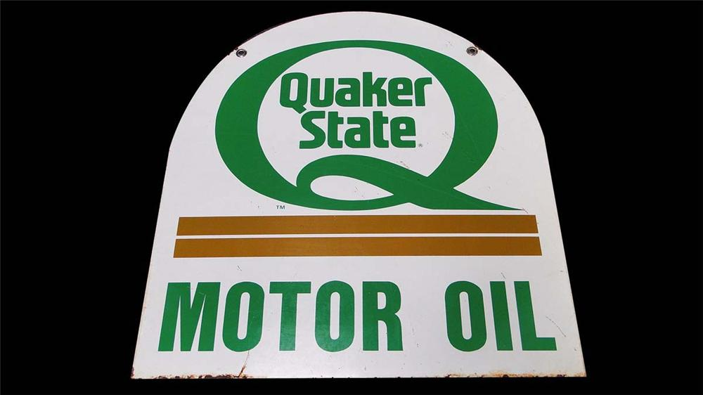 Quaker State Motor Oil double-sided tin painted tombstone shaped garage sign. - Front 3/4 - 130837