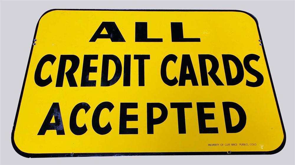 "Very clean Cliff Brice Oil stations ""All Credit Cards Accepted"" single-sided porcelain service station sign. - Front 3/4 - 130838"