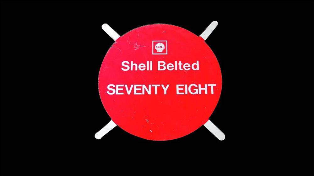 Neat Shell Belted Seventy Eight tin painted service station tire display sign. - Front 3/4 - 130841
