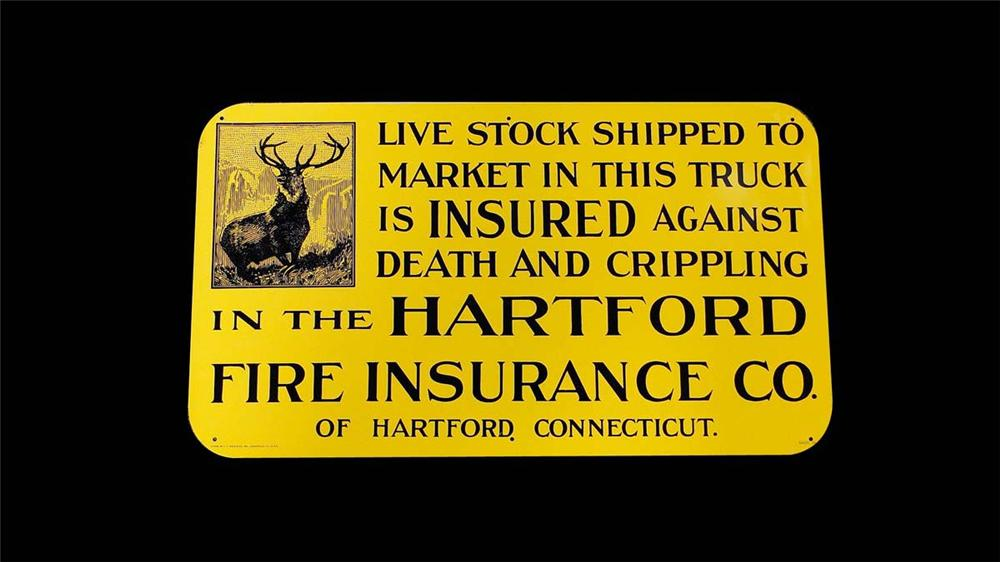 "N.O.S. 1930s Hartford Insurance ""Live Stock Insured in transit"" single-sided tin sign with nice Buck graphic. - Front 3/4 - 130842"