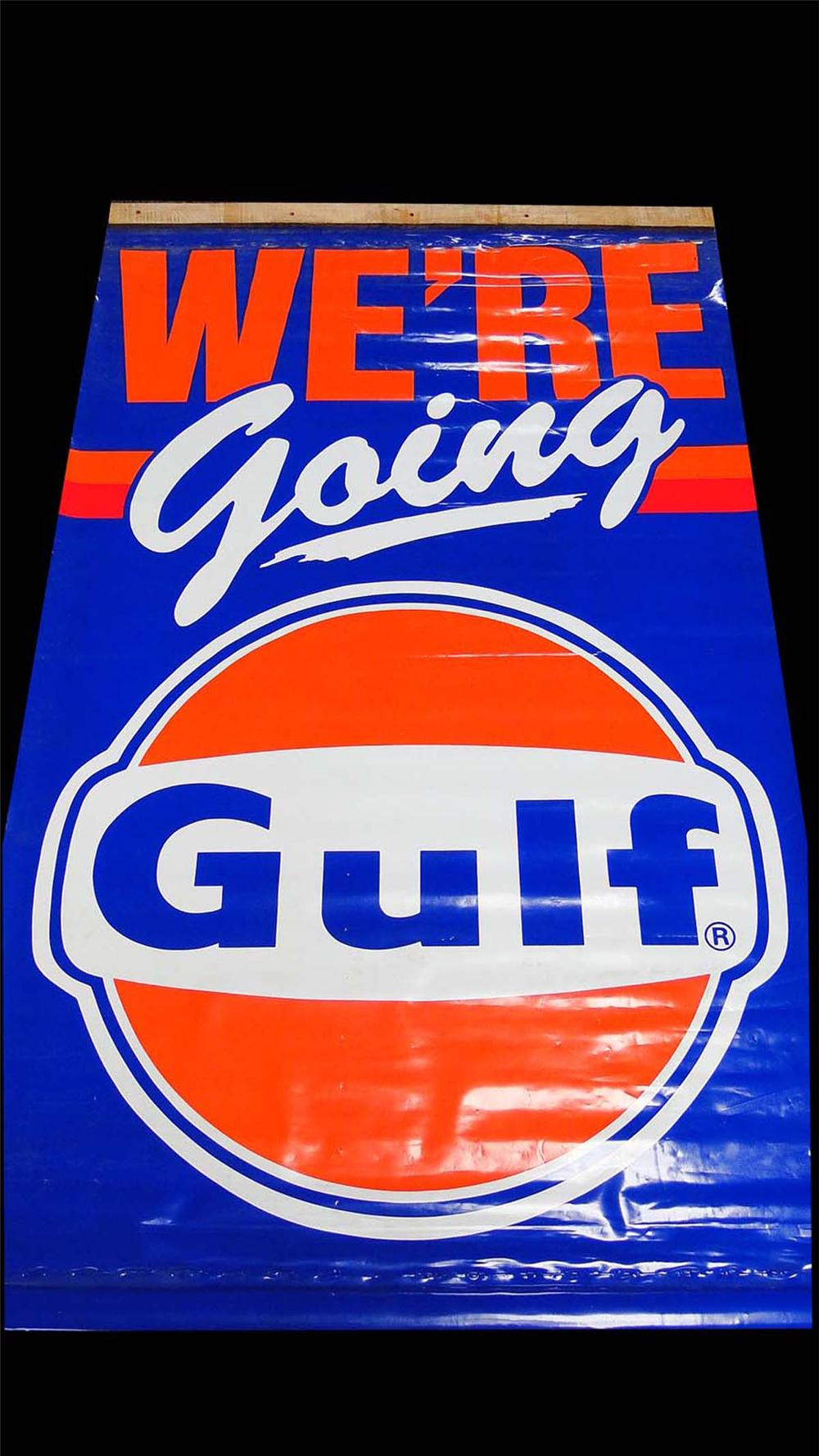 """Very neat 1970s """"Were Going Gulf"""" service station banner sign. - Front 3/4 - 130845"""