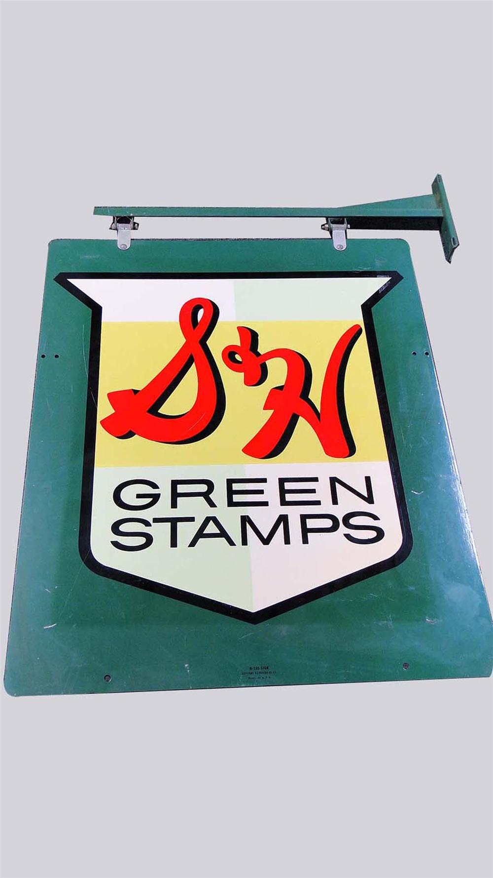 Fabulous 1950s S&H Green Stamps double-sided tin painted service station sign with original hanging bracket. - Front 3/4 - 130846