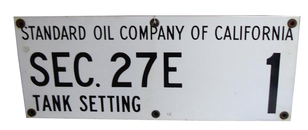 """Vintage Standard Oil Company of California single-sided porcelain """"Tank Setting"""" sign. - Front 3/4 - 130855"""