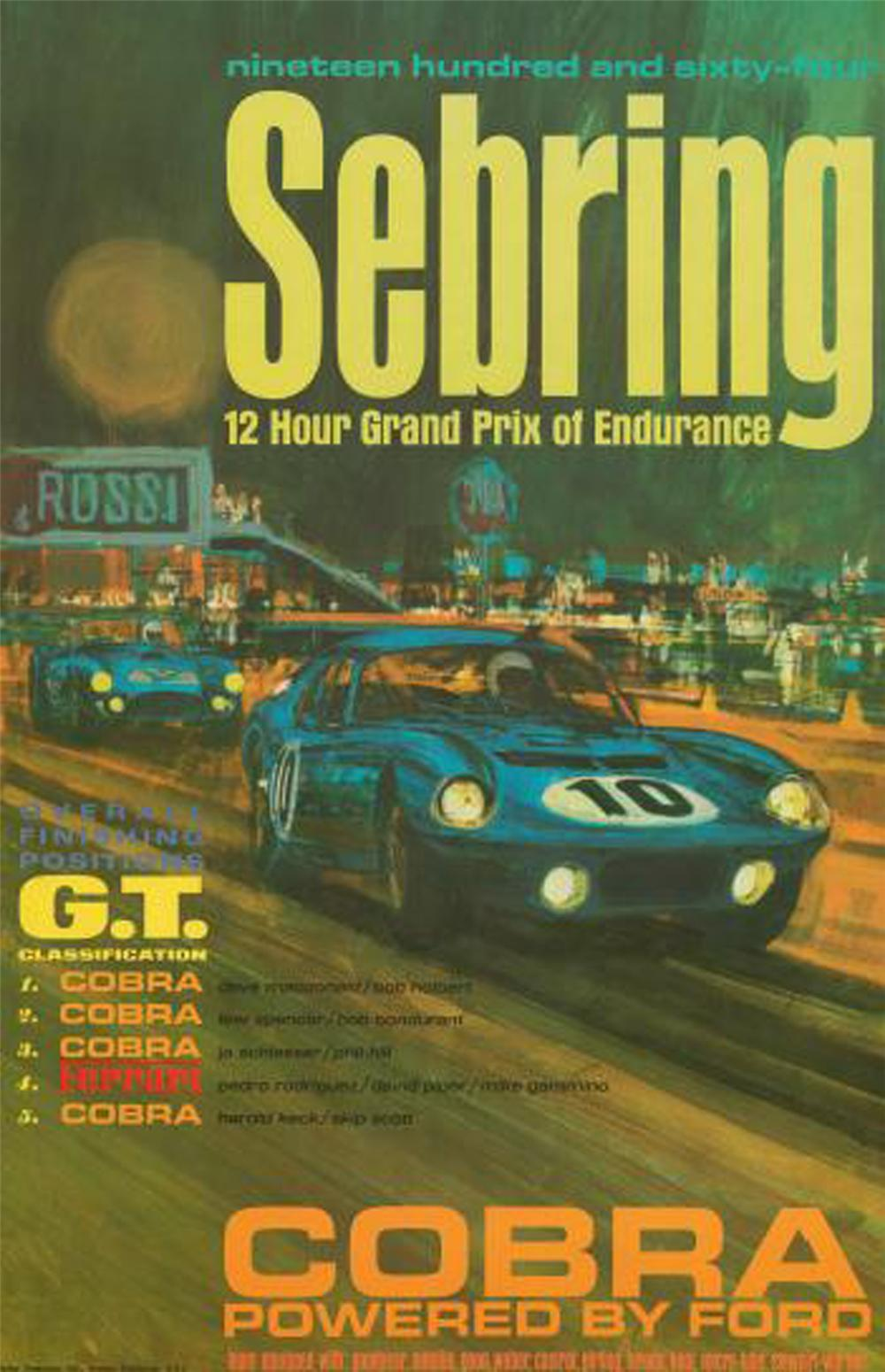1964 Shelby American Sebring Victory Poster from the personal collection of BJ Vice President Gary Bennett. - Front 3/4 - 130857