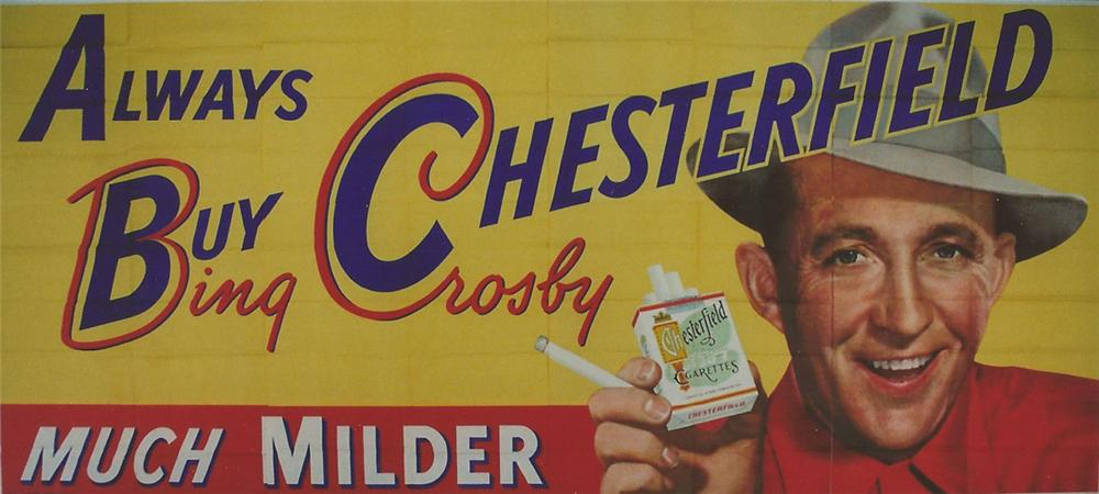 "Magnificent N.O.S. 1950s Chesterfield Cigarettes ""Bing Crosby"" roadside billboard sign. - Front 3/4 - 130860"