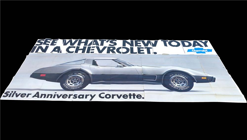 Wonderful N.O.S. 1978 Chevrolet Billboard sign featuring the Silver Anniversary Corvette. - Front 3/4 - 130863