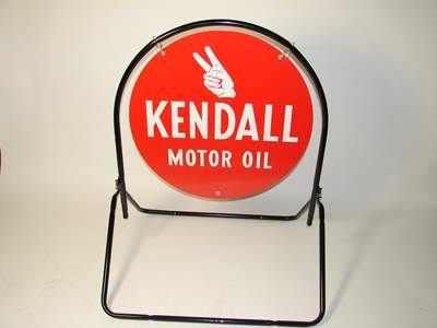 N.O.S. Kendall Motor Oil double-sided tin painted curb sign with original stand. - Front 3/4 - 130866