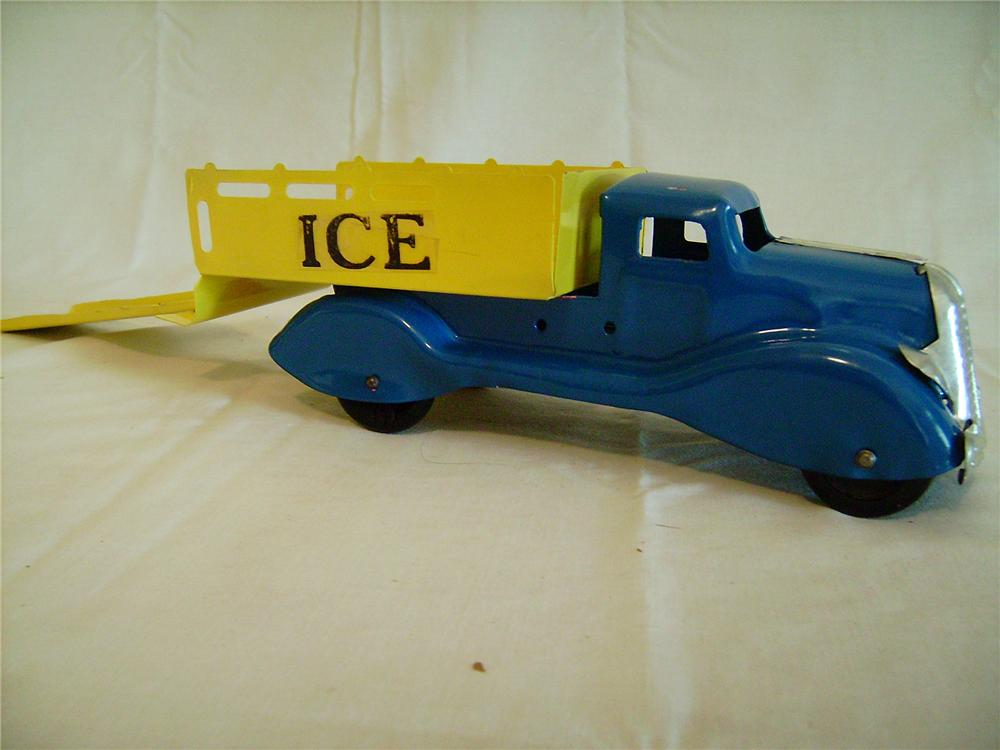 "Exceptional 1930s Louis Marx pressed steel ""Ice"" delivery truck with beautiful paint and original wooden wheels. - Front 3/4 - 130879"