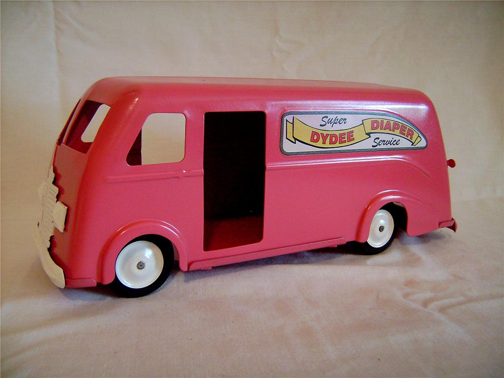 "Fully restored custom 1940s Louis Marx ""Dydee Diaper Service"" delivery van. - Front 3/4 - 130881"