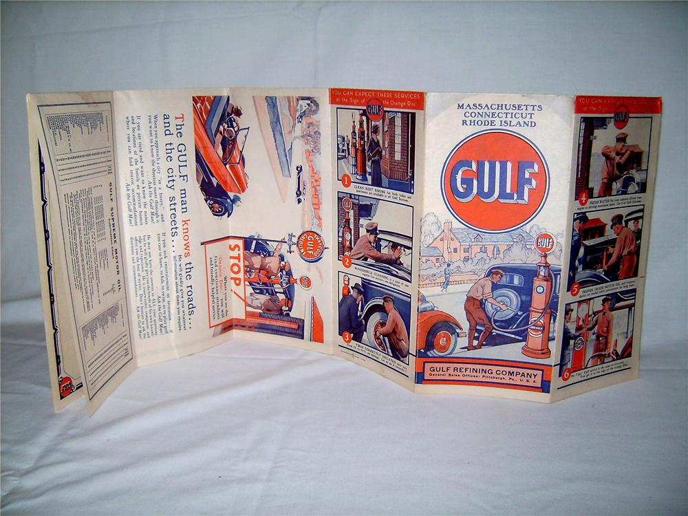 Terrific 1933 Gulf Oil road map of Massachusetts, Connecticut and Rhode Island. - Front 3/4 - 130884