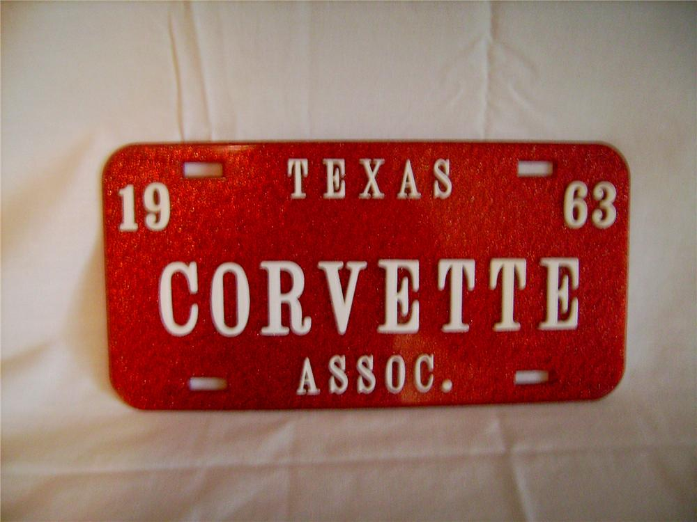 1963 Texas Corvette Association N.O.S. license plate.  Never used!! - Front 3/4 - 130885