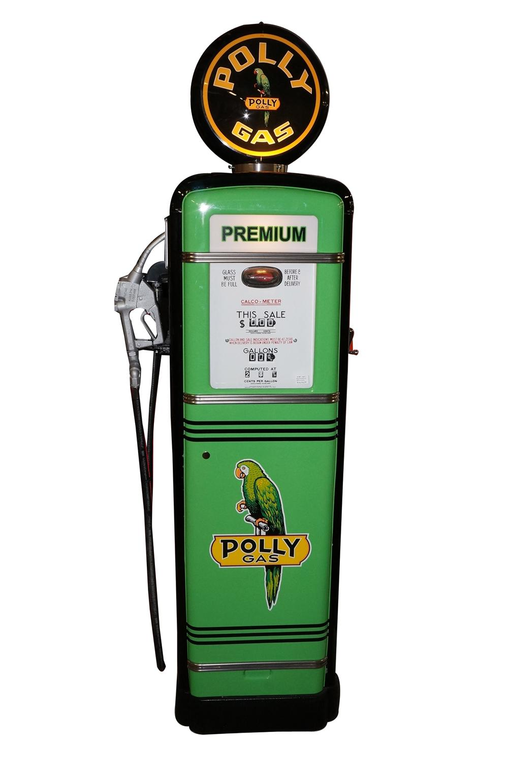 Good looking late 1938 Polly Oil G&B model #98 restored service station gas pump. - Front 3/4 - 130893