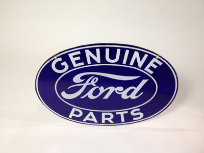 Museum quality 1930s Ford Genuine Parts double-sided porcelain dealership sign. - Front 3/4 - 130894