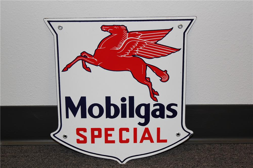 Fantastic 1950s Mobilgas Special porcelain pump plate sign with Pegasus logo. - Front 3/4 - 131735