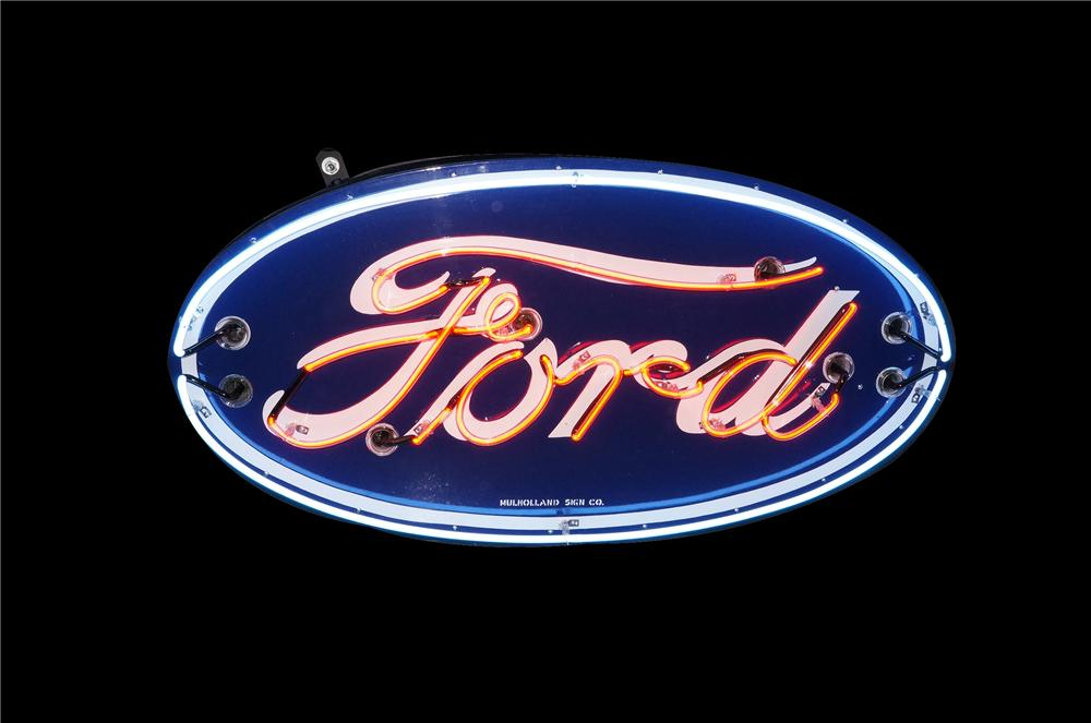 Stellar 1930s-40s Ford Automobiles single-sided neon porcelain dealership sign. - Front 3/4 - 132989