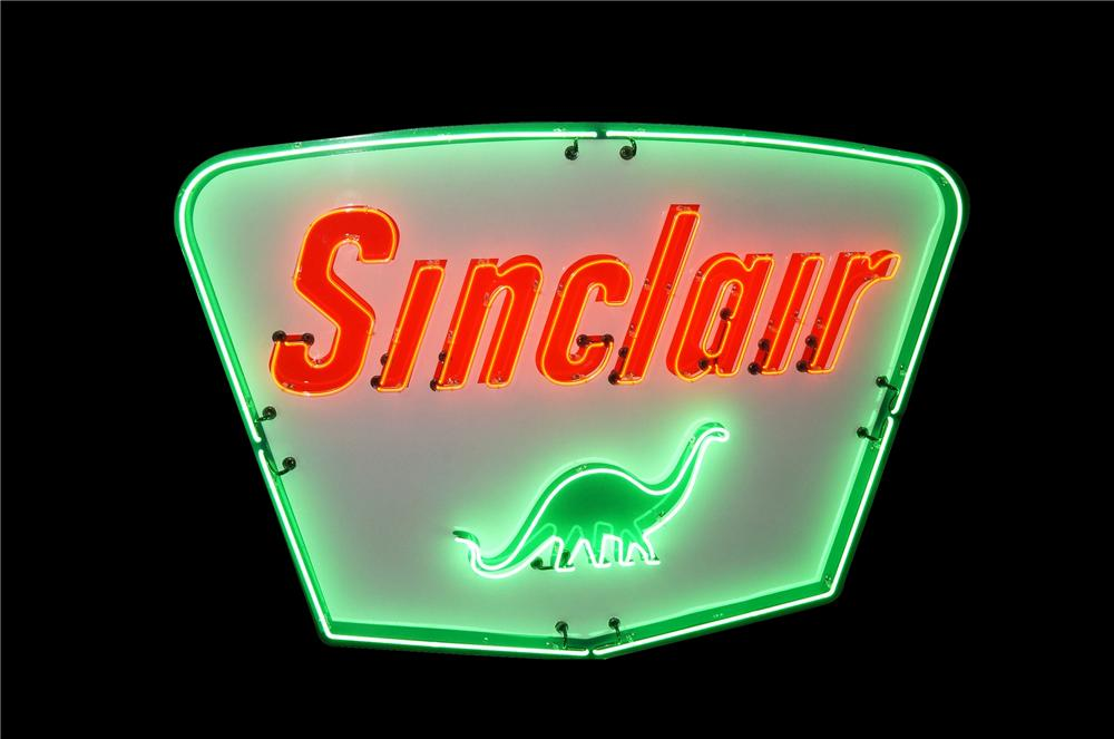 Awesome restored 1950s-60s Sinclair Oil porcelain service station sign with animated neon.  Each letter sequentially lights ... - Front 3/4 - 132993