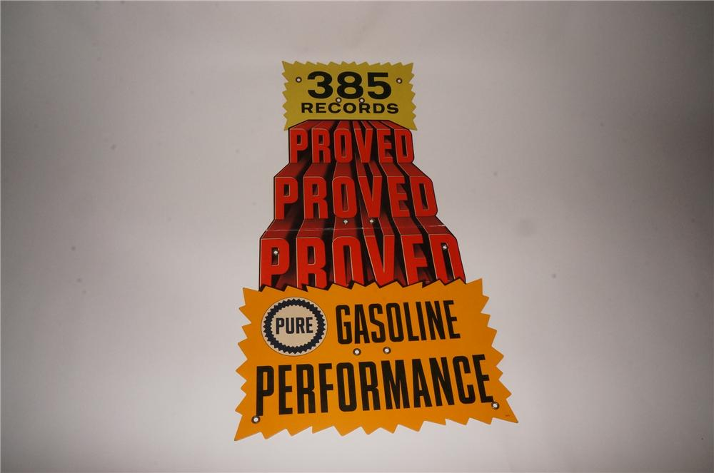 "N.O.S. 1950s-60s Pure Gasoline Performance ""385 Records"" single-sided service station display cardboard. - Front 3/4 - 133087"