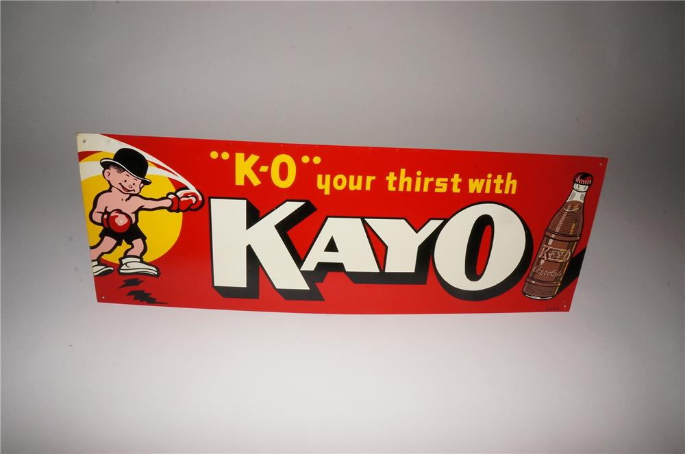 Whimsical 1930s-40s Kayo Chocolate Soda single-sided tin general store sign with boxing boy graphic. - Front 3/4 - 133088