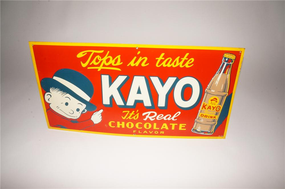 N.O.S. 1930s Kayo Chocolate Soda embossed tin sign with Kayo Boy graphic. - Front 3/4 - 133090