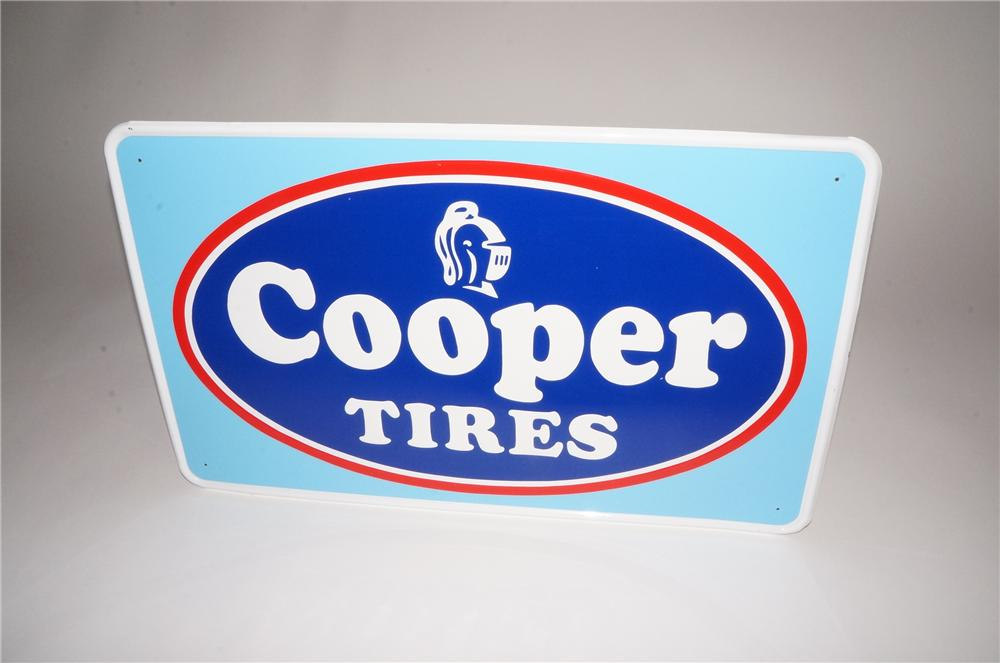 Sharp N.O.S. 1960s Cooper Tires embossed tin garage sign with Knight Head logo. - Front 3/4 - 133093
