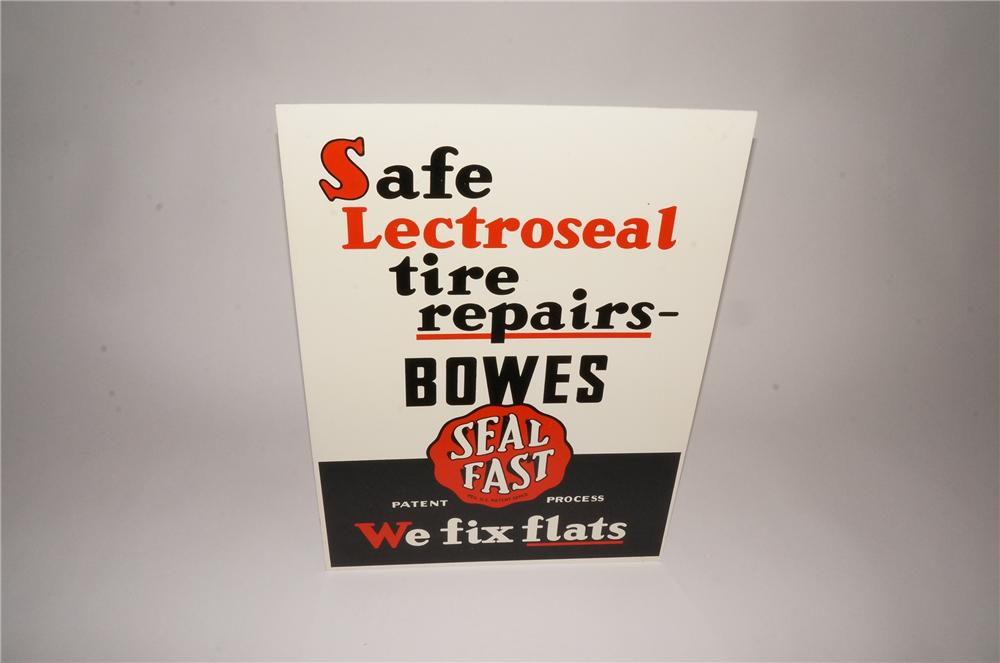 Unusual version N.O.S. 1950s Bowes Seal Fast Tire Repairs double-sided tin sign. - Front 3/4 - 133097
