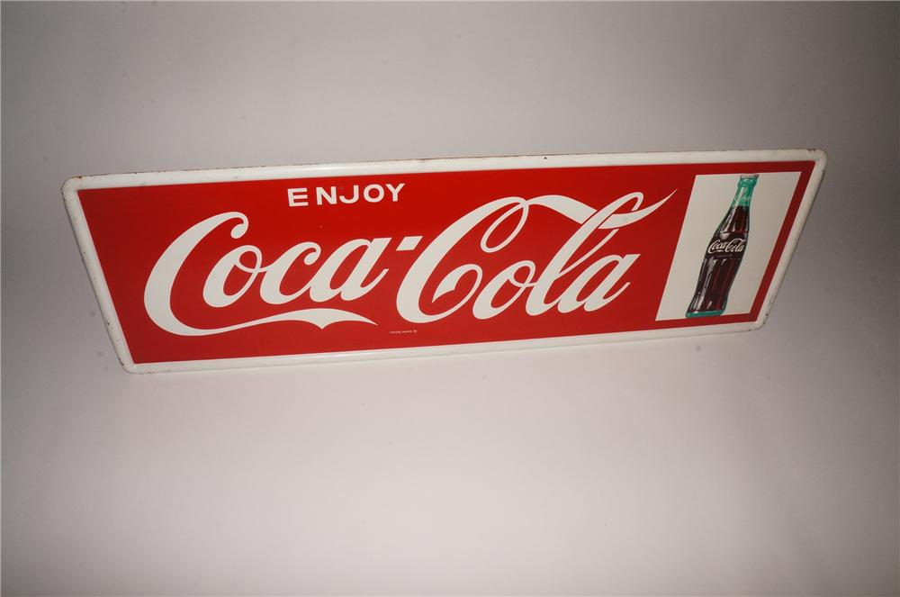 Choice 1960s Enjoy Coca-Cola self-framed tin service station sign with bottle graphic. - Front 3/4 - 133102