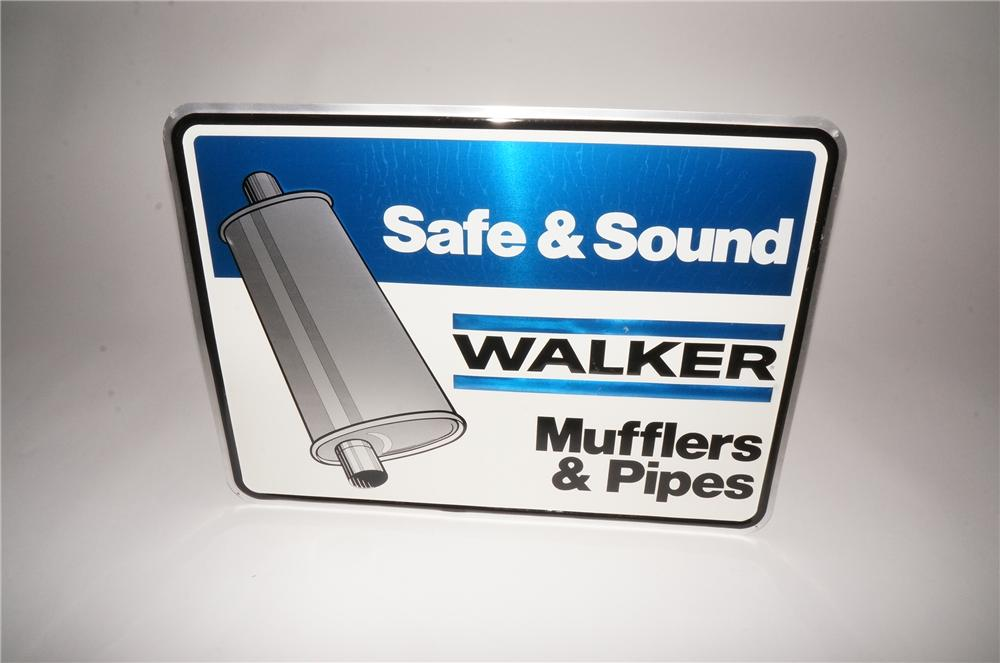 "N.O.S. Walker Muffler ""Safe & Sound"" embossed tin sign with muffler graphic. - Front 3/4 - 133105"
