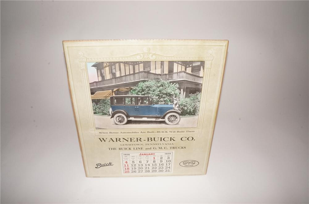 Museum quality 1925 Warner Buick-GMC Trucks dealership calendar with period car depicted. - Front 3/4 - 133108