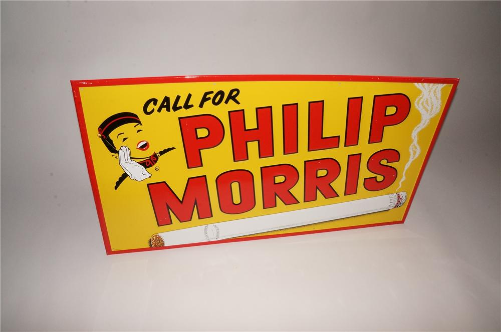 Fabulous large N.O.S. 1940s-50s Phillip Morris Cigarettes tin sign with bell boy graphic. - Front 3/4 - 133114