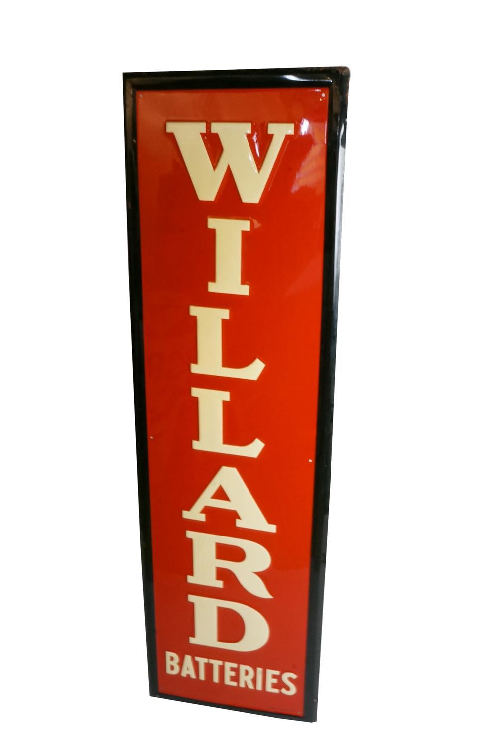 Fabulous N.O.S. 1949 Willard Batteries self-framed vertical tin automotive garage sign. - Front 3/4 - 133120