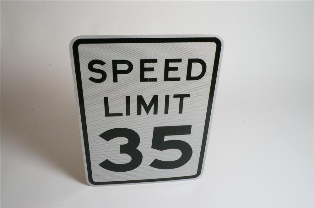 Never used Speed Limit 35 metal highway road sign. - Front 3/4 - 133122