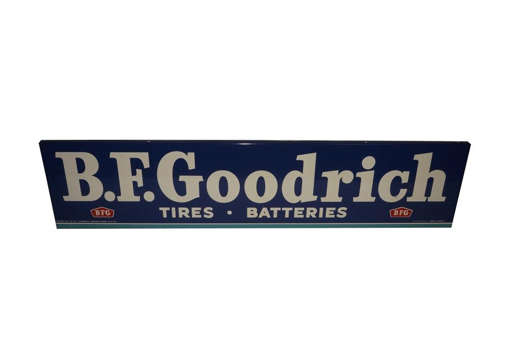 Very unusual version 1959 N.O.S. B.F. Goodrich Tires-Batteries horizontal tin garage sign. - Front 3/4 - 133125