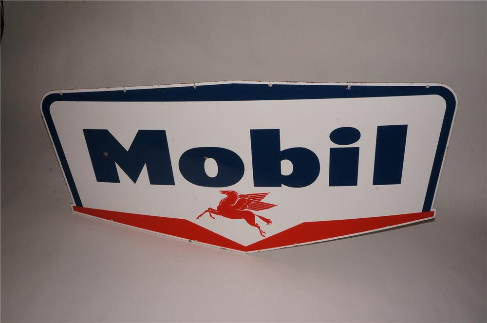 Fabulous late 1950s Mobil Oil double-sided porcelain service station sign with Pegasus logo. - Front 3/4 - 133126