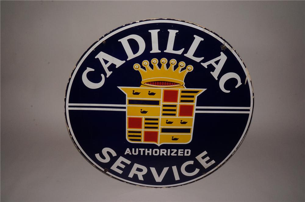 Highly desirable 1950s Cadillac Service double-sided porcelain dealership sign. - Front 3/4 - 133127