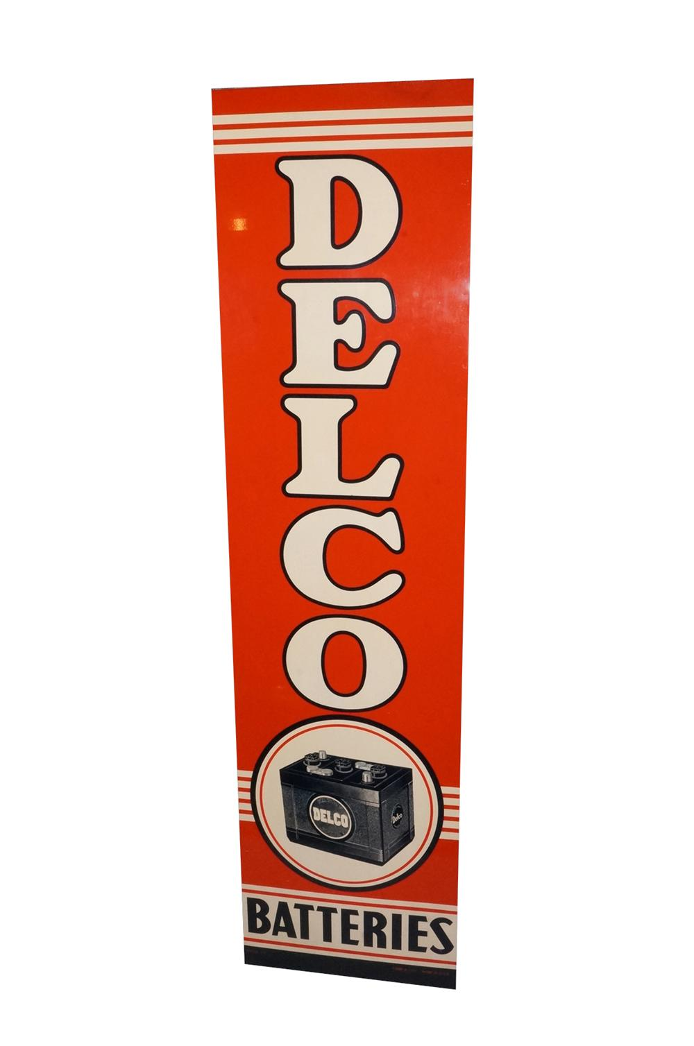 Incredible N.O.S. 1940s-50s Delco Batteries tin painted wood framed automotive garage sign. - Front 3/4 - 133230