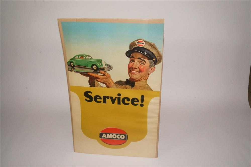 Phenomenal 1940s Amoco Service filling station display poster with choice car graphics. - Front 3/4 - 133231