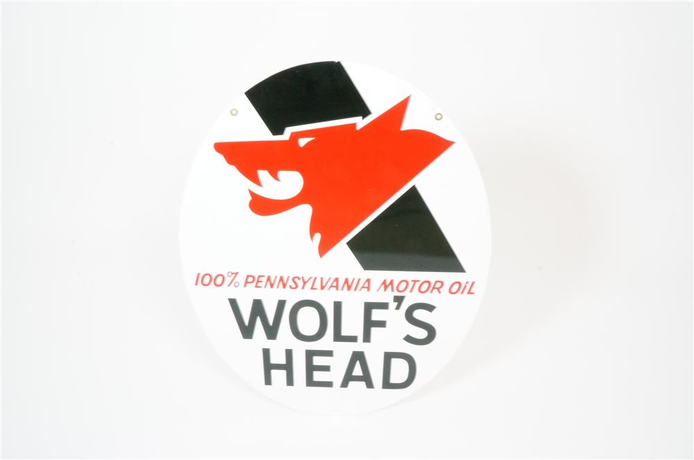 N.O.S. 1960s Wolfs Head Motor Oil double-sided tin garage sign with wolfs head graphic. - Front 3/4 - 133234