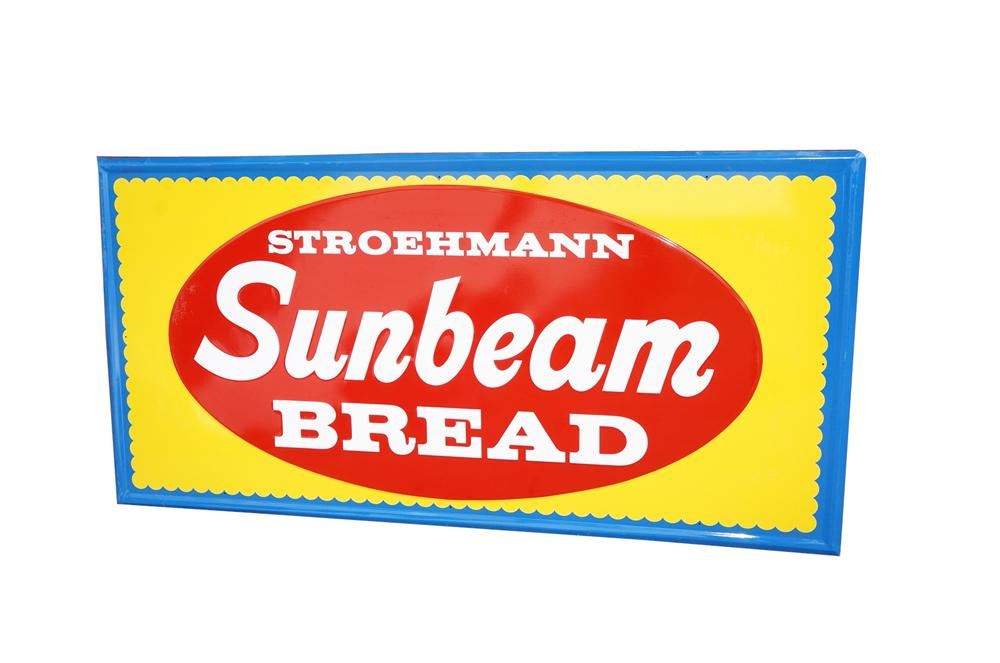 Large N.O.S. 1950s Stroehmann Sunbeam Bread tin painted general store sign. - Front 3/4 - 133239