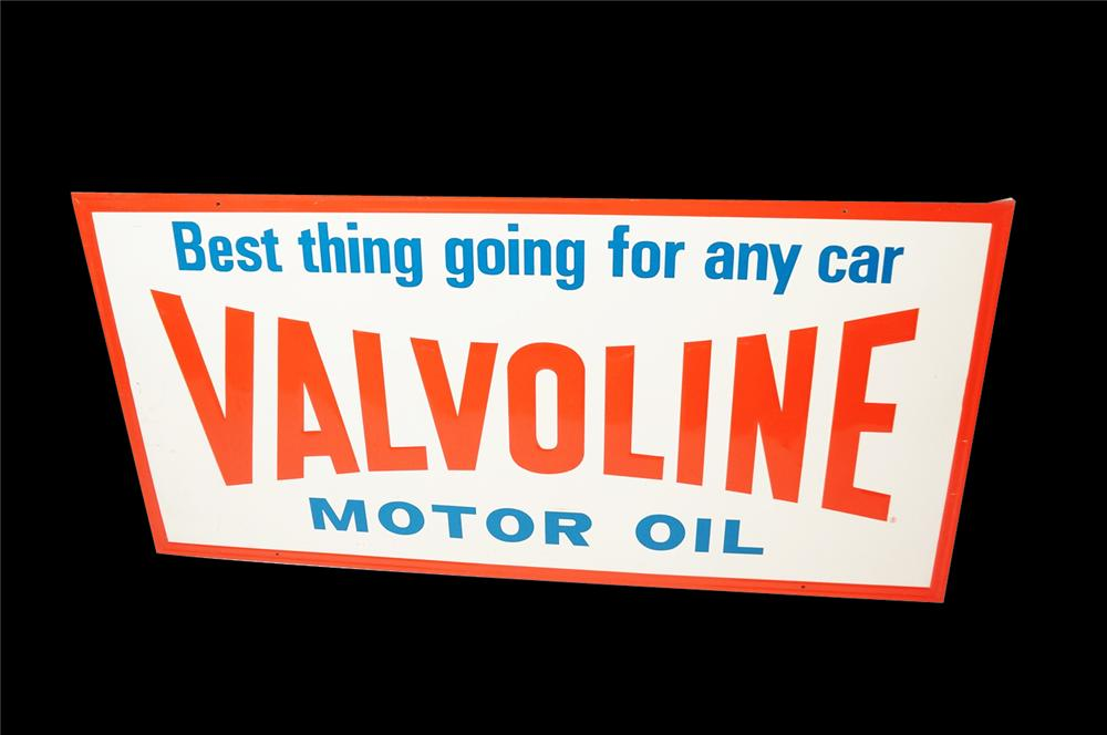 "Large 1950s Valvoline Motor Oil ""Best ,Thing Going for Any Car"" self-framed tin painted garage sign. - Front 3/4 - 133243"