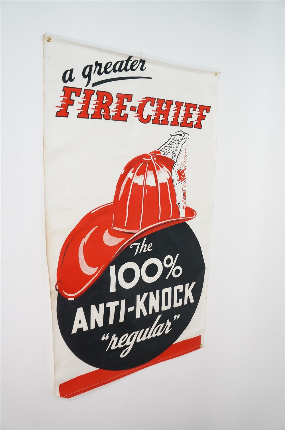 "Rare N.O.S. 1950s Texaco Fire Chief ""The 100% Anti-Knock"" Regular Gasoline service station banner. - Front 3/4 - 133244"