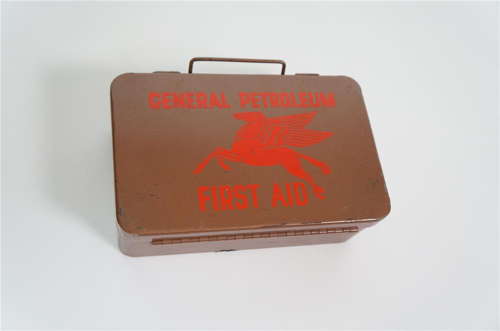 Mobil Oil - General Petroleum corporation First Aid service station metal kit. Still full! - Front 3/4 - 133247