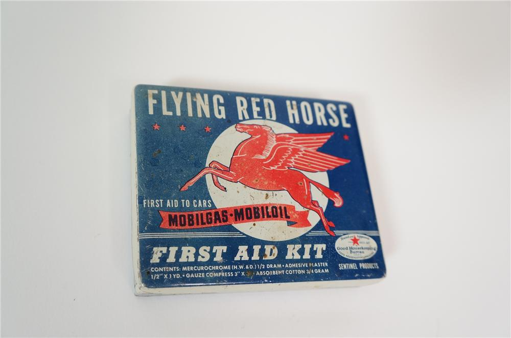 Fabulous 1940s Mobilgas-Mobil Oil Flying Red Horse First Aid kit.  Nice colors and graphics. - Front 3/4 - 133248