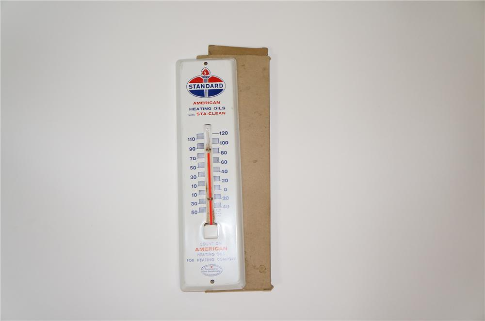 """N.O.S. .1950s Standard Oil """"American Heating Oils"""" tin Painted service station thermometer. - Front 3/4 - 133250"""